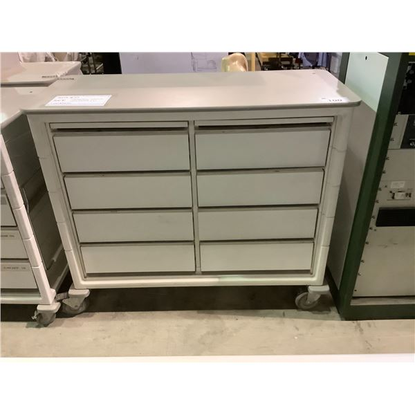 """8-DRAWER ROLLING CART /W SIDE TABLE 49""""L X 21.5""""W X 41.5""""H"""