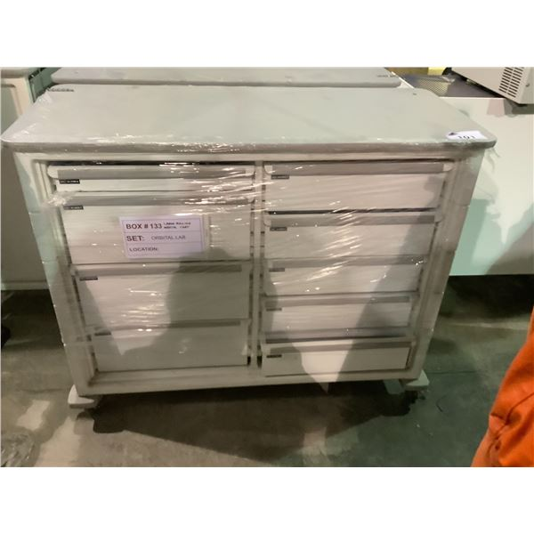 """8-DRAWER ROLLING CART /W SIDE TABLE 49""""L X 21.5""""W X 40""""H"""