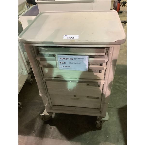 """4-DRAWER ROLLING CART /W SIDE TABLE 27.25""""L X 21.5""""W X 41.5""""H"""