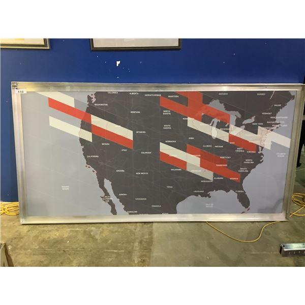 """LARGE METAL FRAMED MAP 95-7/8""""L X 2""""D X 47.75""""H"""
