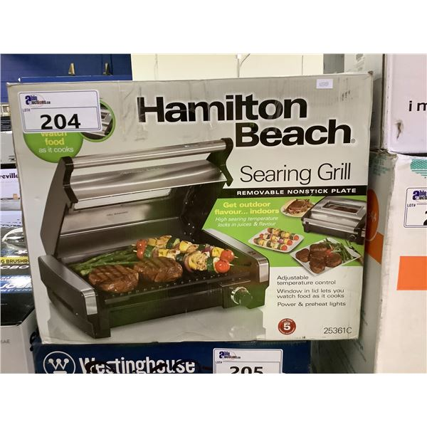 HAMILTON BEACH SEARING GRILL (WITH REMOVABLE NONSTICK PLATE)
