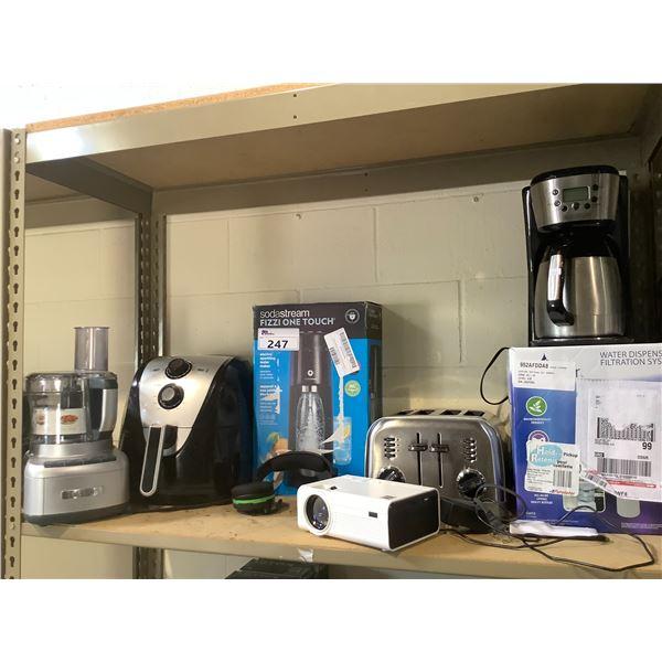 BLACK & DECKER COFFEE MACHINE, 4-SLICE TOASTER, WATER DISPENSER, CUISINART FOOD PROCESSOR,