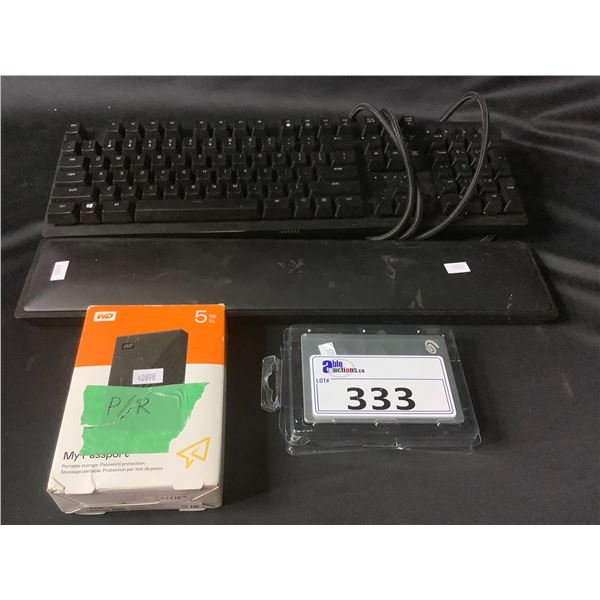 RAZER HUNTSMAN ELITE GAMING KEYBOARD, SEAGATE 1TB EXTERNAL HDD, WESTERN DIGITAL 5TB EXTERNAL HDD