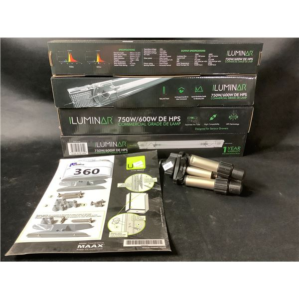 4 ILUMINAR 750W/600W DE HPS COMMERCIAL GRADE LAMPS, MINI TRIPOD & HARDWARE KIT