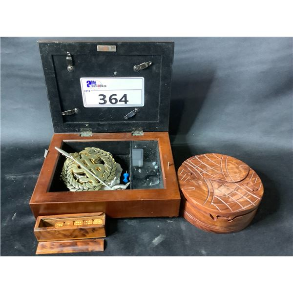 PICTURE FRAME JEWELRY BOX & CONTENTS, WOOD CARVED FISH BOX & CONTENTS