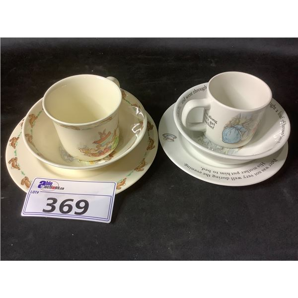 """ROYAL DOULTON """"BUNNYKINS"""" BOWL, CUP & PLATE - WEDGEWOOD OF ETRURIA """"PETER RABBIT"""" BOWL, CUP & PLATE"""