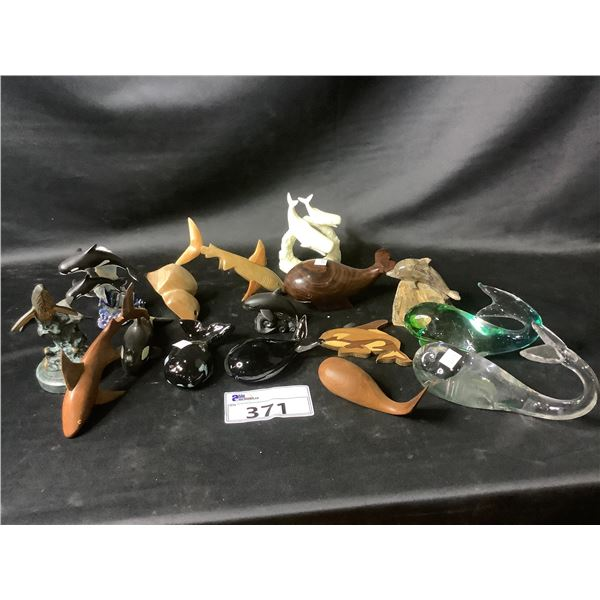 ASSORTED WHALE FIGURINES