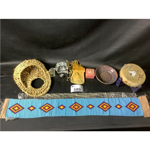 DRUM ON STAND, BASKET, DISH, POUCH WITH STRAP, GLASSWARE, ETC