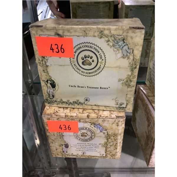 """BOYDS BEARS UNCLE BEAN'S TREASURE BOXES COLLECTION """"VERNA'S TEAPOT WITH CHAMOMILE MCNIBBLE"""" &"""