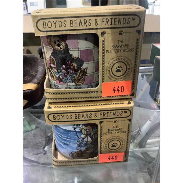 "2 BOYDS BEARS & FRIENDS ""THE BEARWARE POTTERY WORKS"" MUGS"