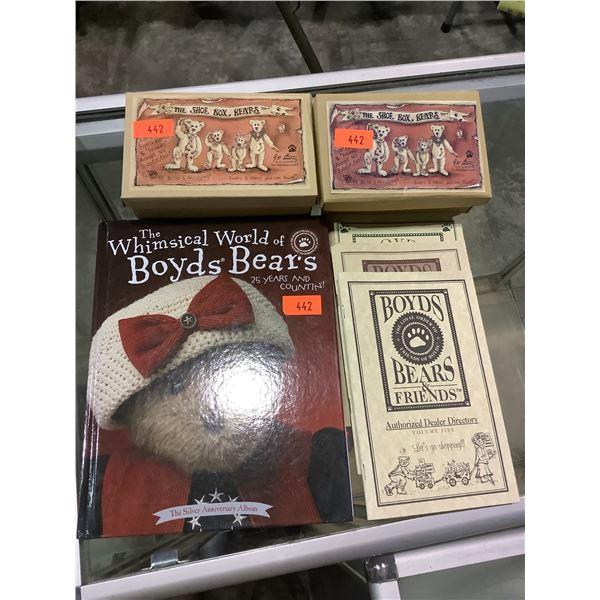 "BOYDS BEARS & FRIENDS ""THE SHOE BOX BEARS"" MILES GOBBLE GRIZBERG, PRINCESS STANDINGBEAR, BOYDS"