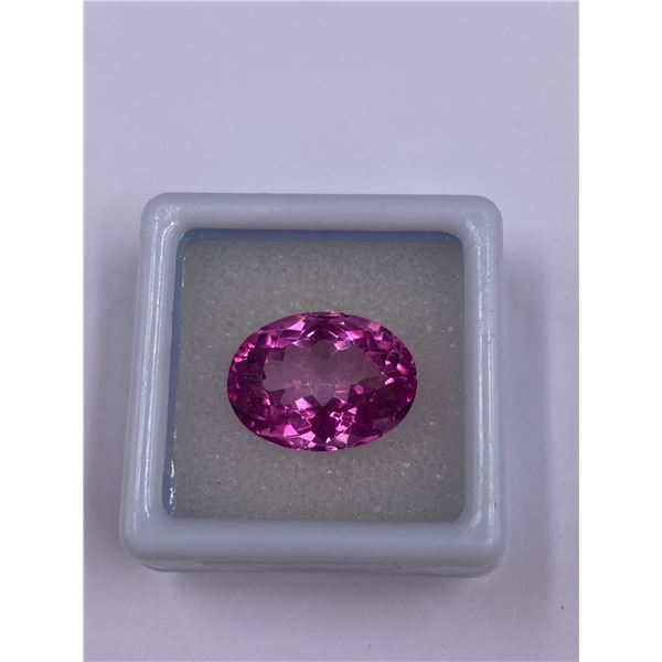 HUGE PINK TOPAZ 12.32CT, 15.6 X 11.6 X 8.6MM, OVAL CUT, IF-LOUPE CLEAN CLARITY, BRAZIL, CVD