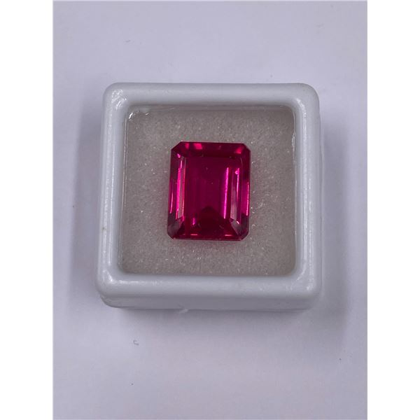 LAB CREATED RUBY 13.90CT, 13.60 X 11.00 X 7.60MM, EMERALD CUT, IF LOUPE CLEAN CLARITY