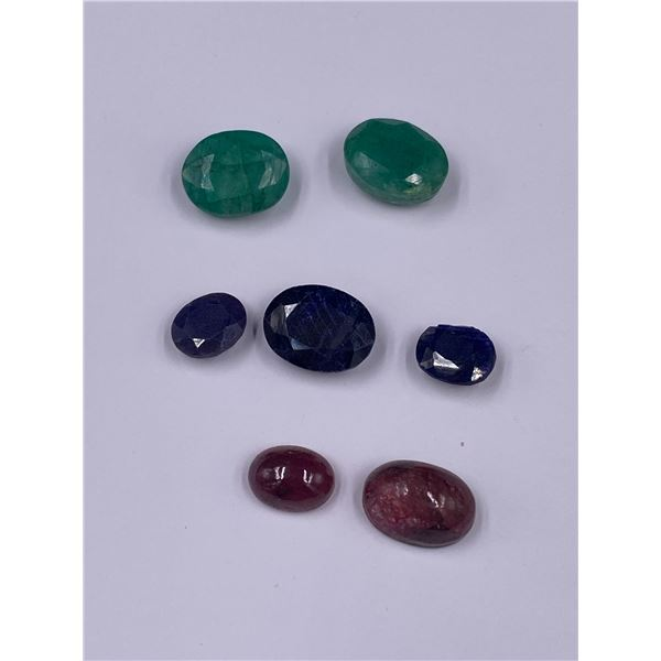 MIXED GEMSTONES EMERALD, RUBY, SAPPHIRE, 55.75CT, MADAGASCAR AND BRAZIL