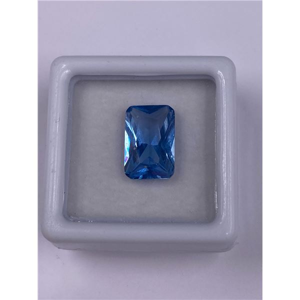 LAB CREATED SPARKLING BLUE SPINEL 4.17CT, 12.00 X 8.00 X 4.80MM, EMERALD CUT, LOUPE CLEAN CLARITY