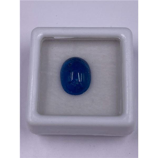 EXCEPTIONAL BLUE APATITE 4.46CT, 11.9 X 9.1 X 5.1MM, OVAL CABOCHON, VS CLARITY, MADAGASCAR,