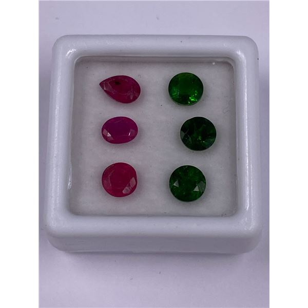 DIOPSIDE 1.53CT, RUSSIA, VVS, RUBY 2.01CT, MOZAMBIQUE, VVS, UNTREATED