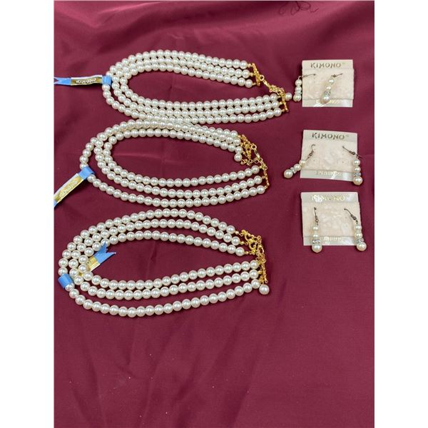 """3 LISA KAO """"KIMONO"""" COLLECTION PEARL NECKLACES AND 3 PAIRS OF EARRINGS"""