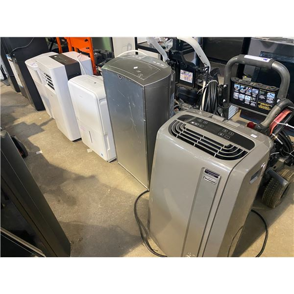 LOT OF SEVEN AIR CONDITIONERS AND DEHUMIDIFIERS FOR PARTS AND REPAIR