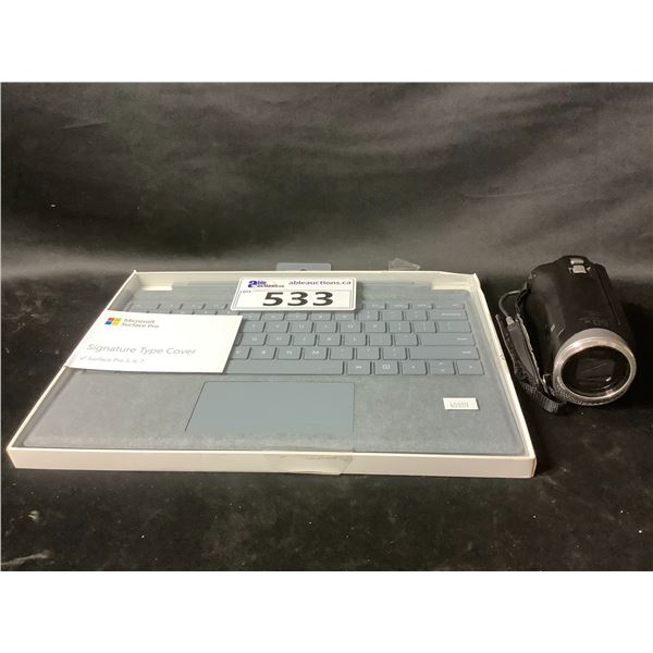 MICROSOFT SURFACE PRO TABLET KEYBOARD & SONY HDR-CX455 CAM CORDER (MISSING BATTERY & CHARGER)