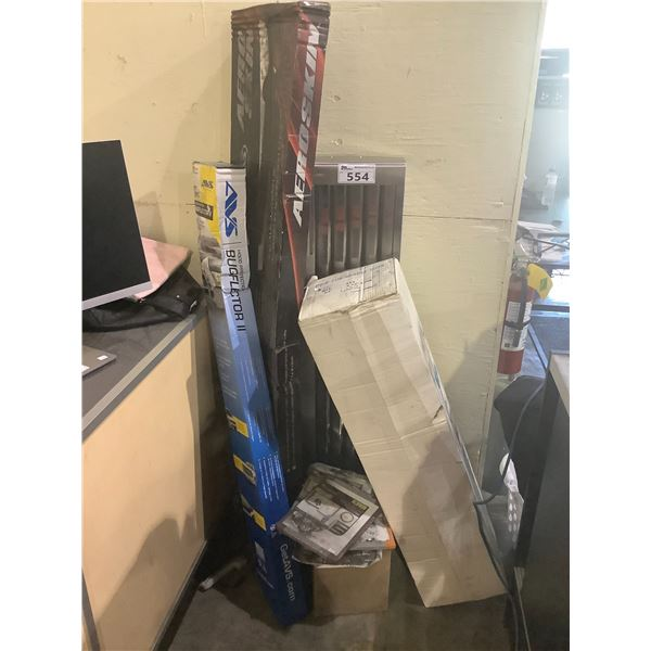 VEHICLE BUG DEFLECTORS, PLASTIC TUBES, SMALL WHITE BOARDS, ASSORTED MISC