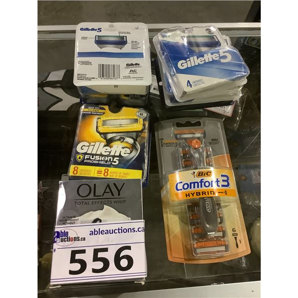 ASSORTED NEW SHAVER HEADS, SHAVERS, OLAY WHIP FACIAL CREAM