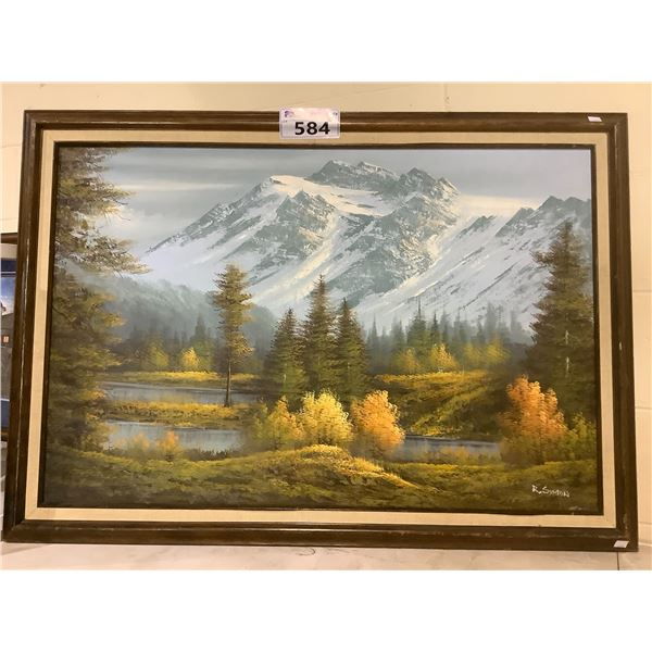 FRAMED OIL WOODS PICTURE