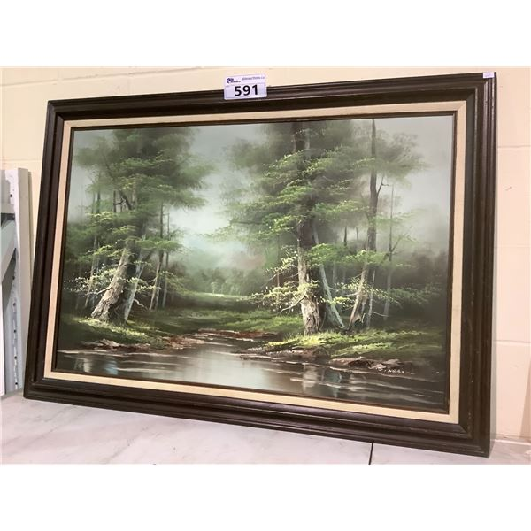 FRAMED WOODS OIL PAINTED CANVAS