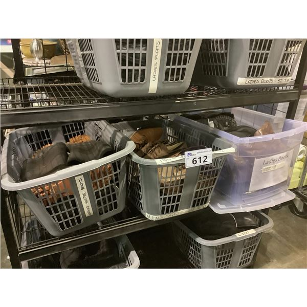 3 LAUNDRY BASKETS OF ASSORTED SHOES, BOOTS, ETC