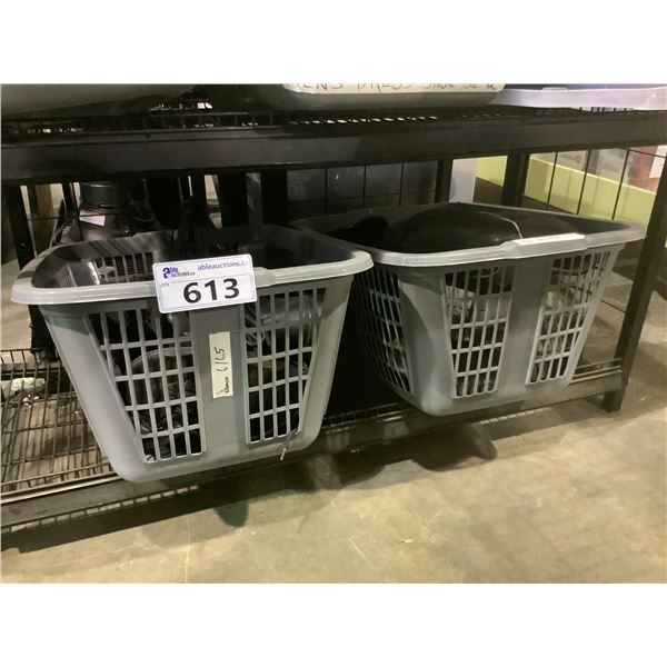 2 LAUNDRY BASKETS OF SHOES & BOOTS