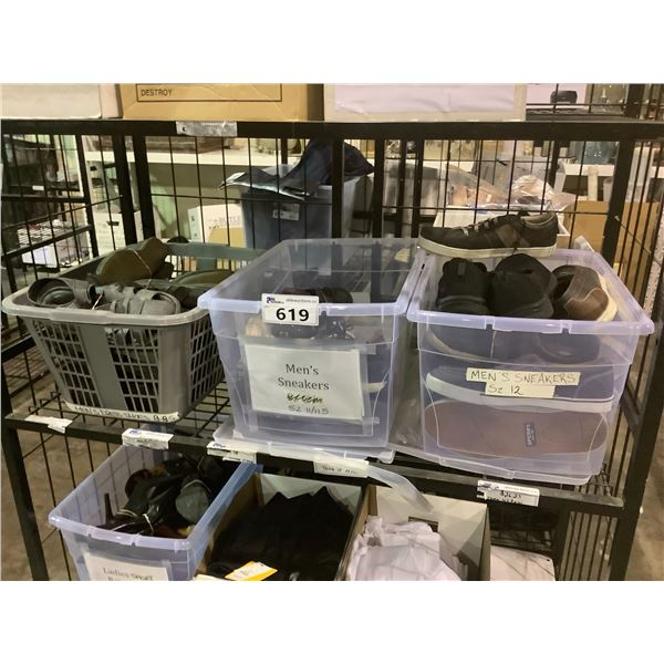 3 BINS OF ASSORTED SHOES, BOOTS, ETC
