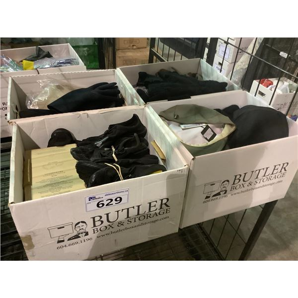 4 BOXES OF TOE SHOES, HATS, GLOVES, ETC