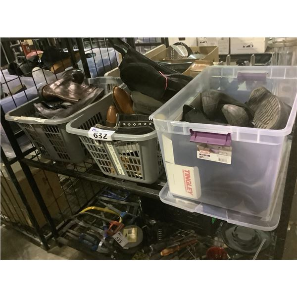 3 BINS OF ASSORTED SHOES & BOOTS