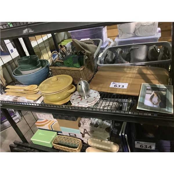 CUTTING BOARD, PICNIC BASKET & CONTENTS, HOUSEHOLD ITEMS, ETC