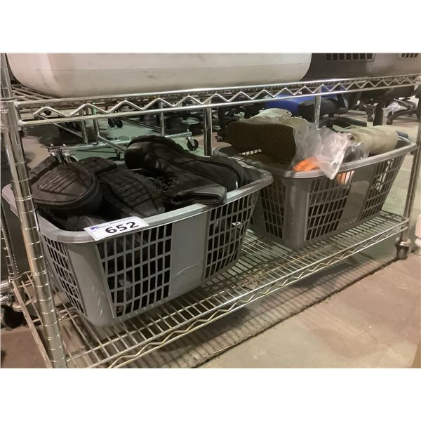 2 LAUNDRY BASKETS OF ASSORTED BOOTS, SHOES, ETC