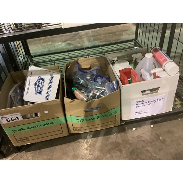 3 BOXES OF DOOR HANDLES, CLEANERS, ETC