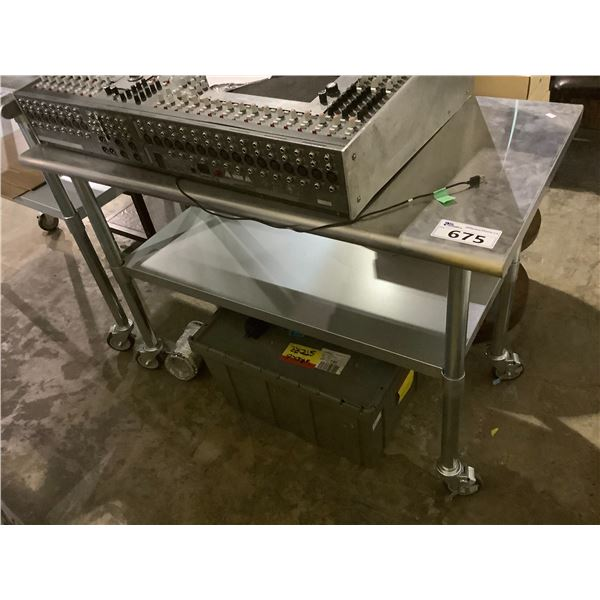 """STAINLESS STEEL 2-TIER ROLLING TABLE 24.25""""W X 48""""L X 33.75""""H"""
