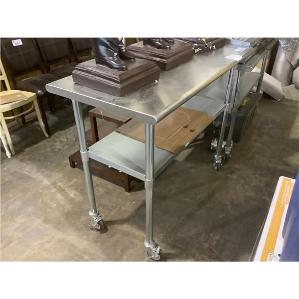 """STAINLESS STEEL 2-TIER ROLLING TABLE 24.25""""W X 48""""L X 38.5""""H"""