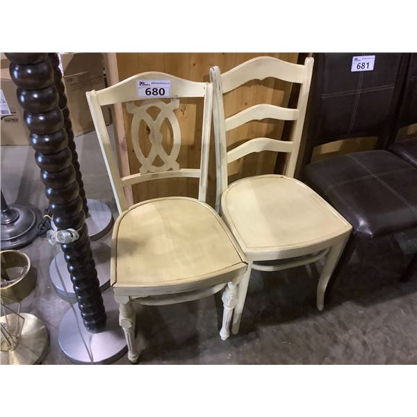 2 YELLOW WOOD CHAIRS (ONE WITH SOME COSMETIC DAMAGE)