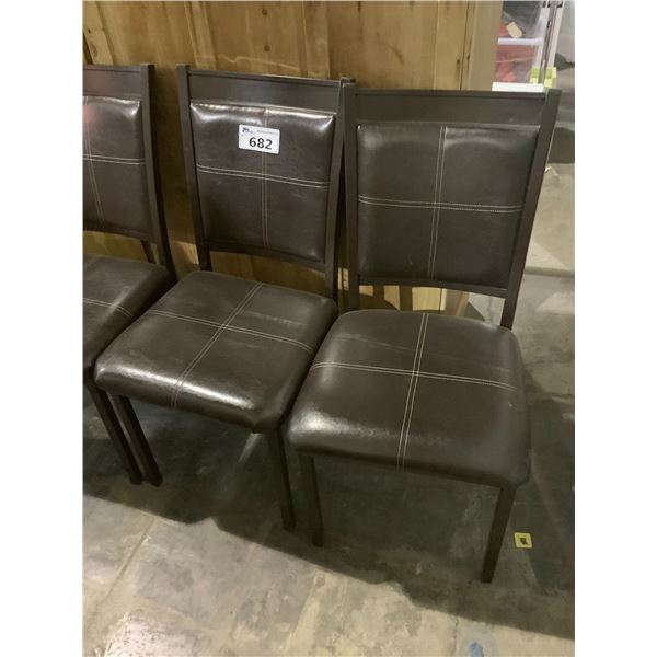 2 BROWN DINING TABLE CHAIRS