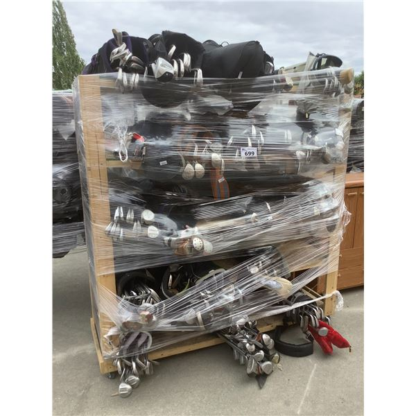 RACK OF ASSORTED GOLF CLUBS & CADDY BAGS (RACK NOT INCLUDED)