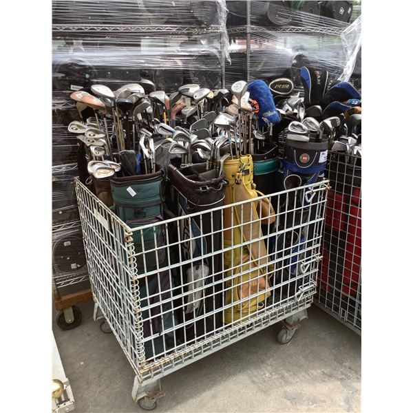 ROLLING CAGE OF ASSORTED GOLF CLUBS & CADDY BAG (CAGE NOT INCLUDED)