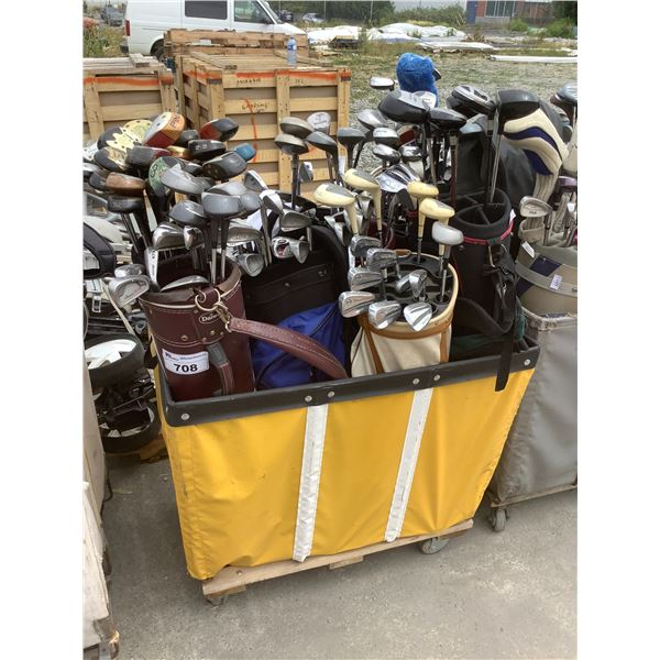 ROLLING CART OF ASSORTED GOLF CLUBS & CADDY BAGS (CART NOT INCLUDED)