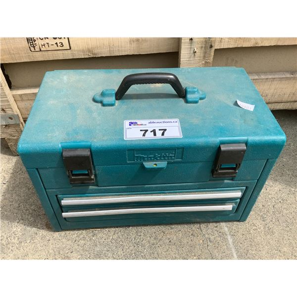 GREEN TOOL BOX & ASSORTED POWER TOOLS