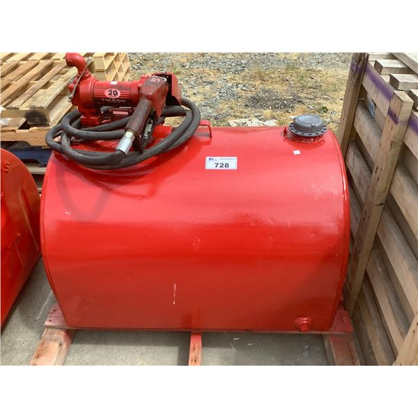 RED FUEL TANK WITH PUMP (SIZE UNKNOWN)