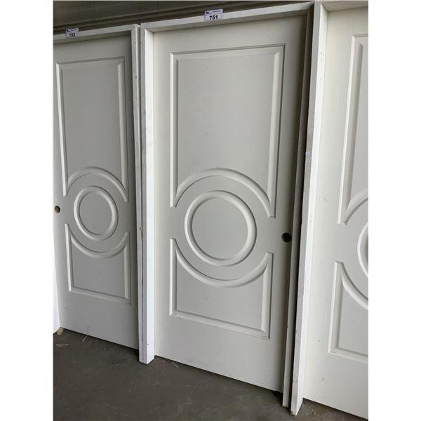 "WHITE INTERIOR DOOR WITH FRAME 80""H X 36""W"