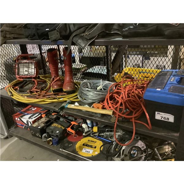 GAS CAN, EXTENSION CORD, RUBBER BOOTS, HOSE, HAMMER, TOOLBOX