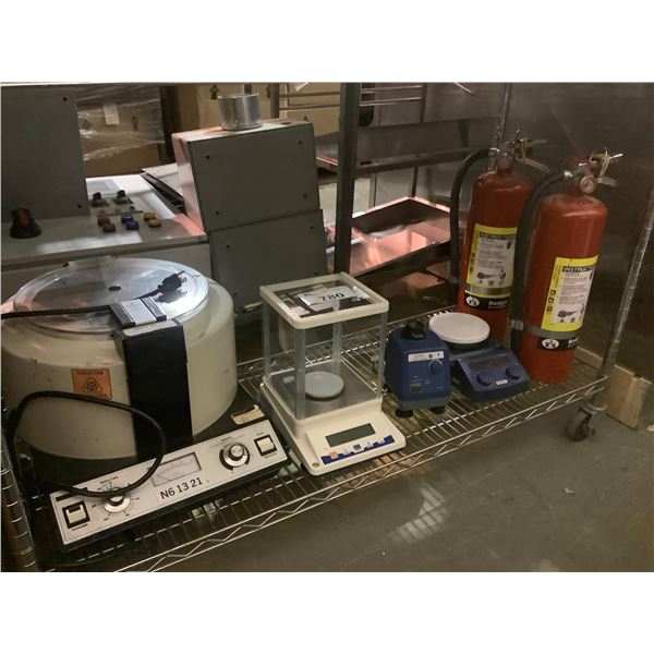 2 FIRE EXTINGUISHERS, SCALES, MISC
