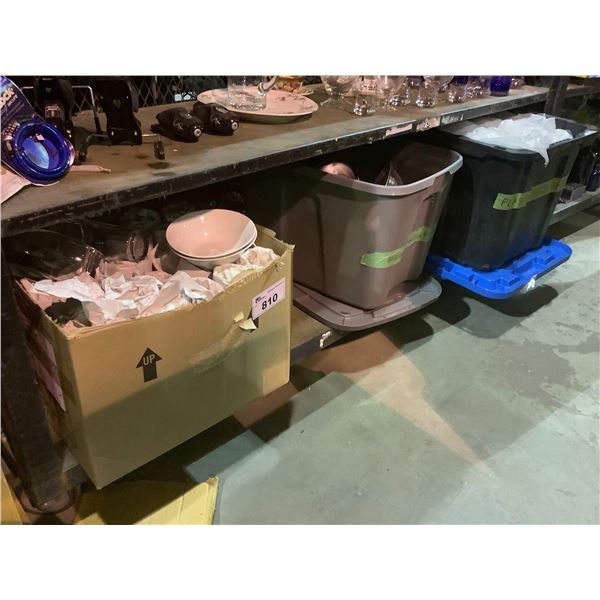 ASSORTED BOWLS, PLATES, CUPS, ETC & 2 TOTES OF PLASTIC WRAP AND LIGHT SHADES
