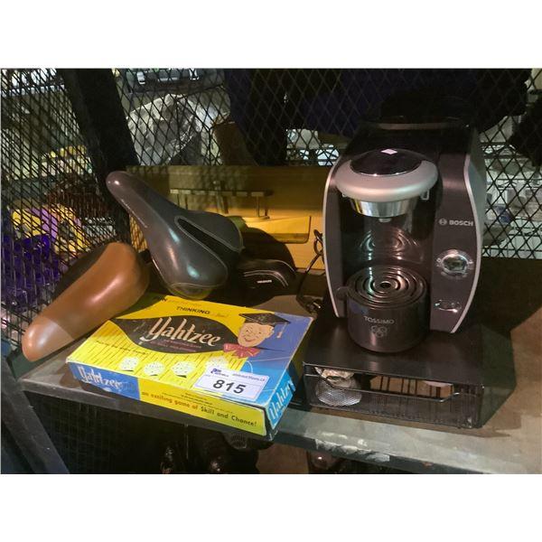 YAHTZEE, COFFEE POD MACHINE, WALL HANGER, BIKE SEATS, ETC